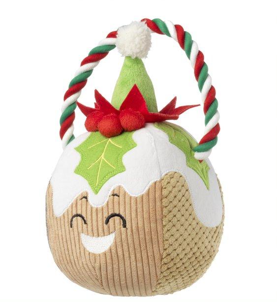 Festive Christmas pudding rope toy