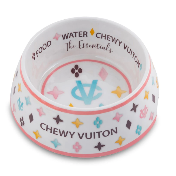 White Chewy Vuitton bowl