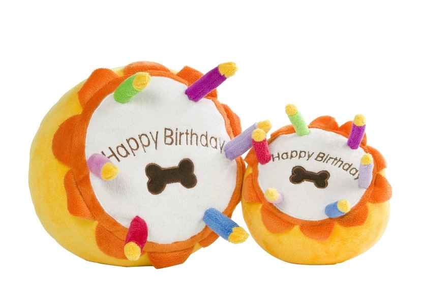 Birthday cake plush dog toy