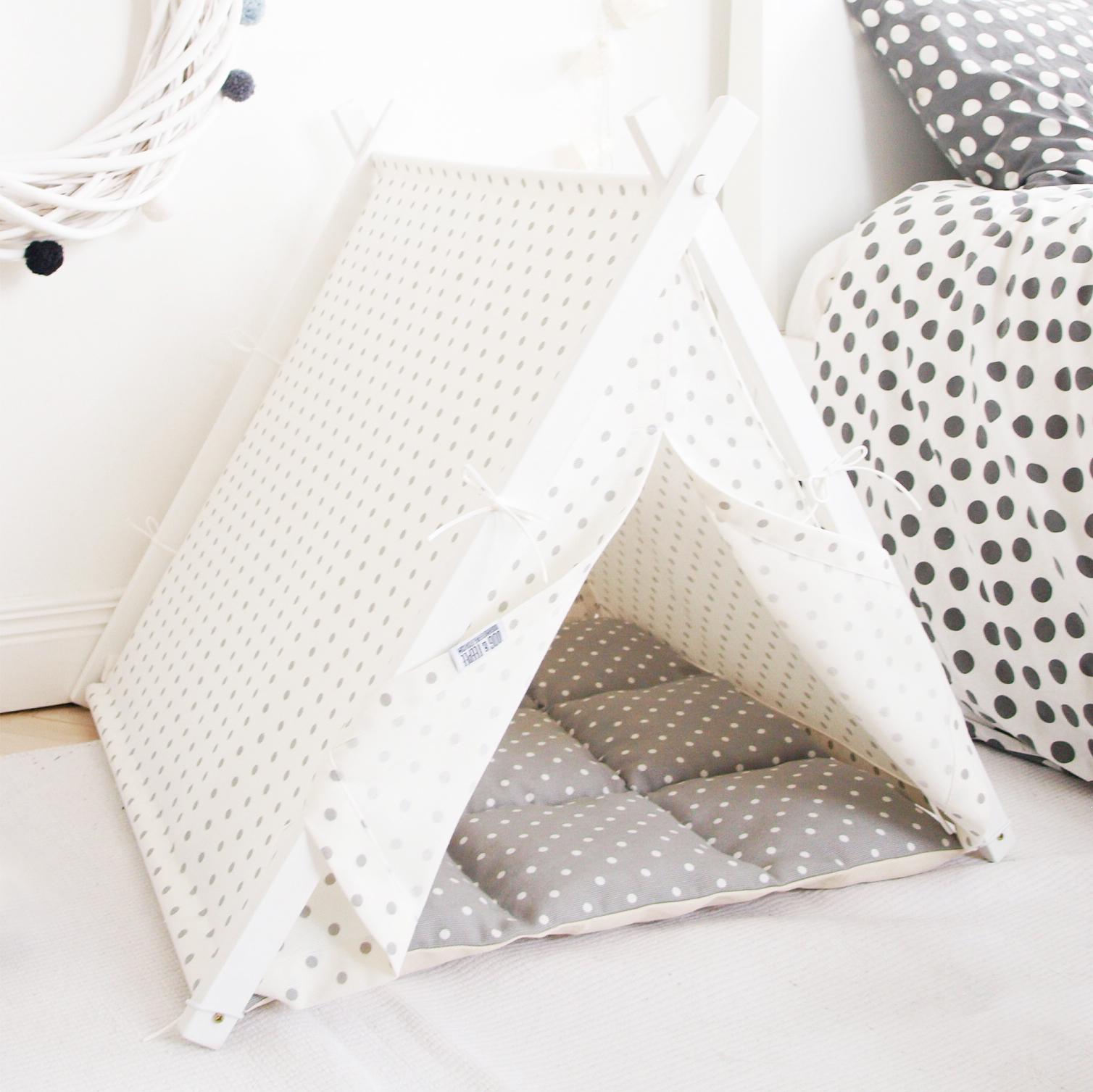 White & grey polka dot Teepee
