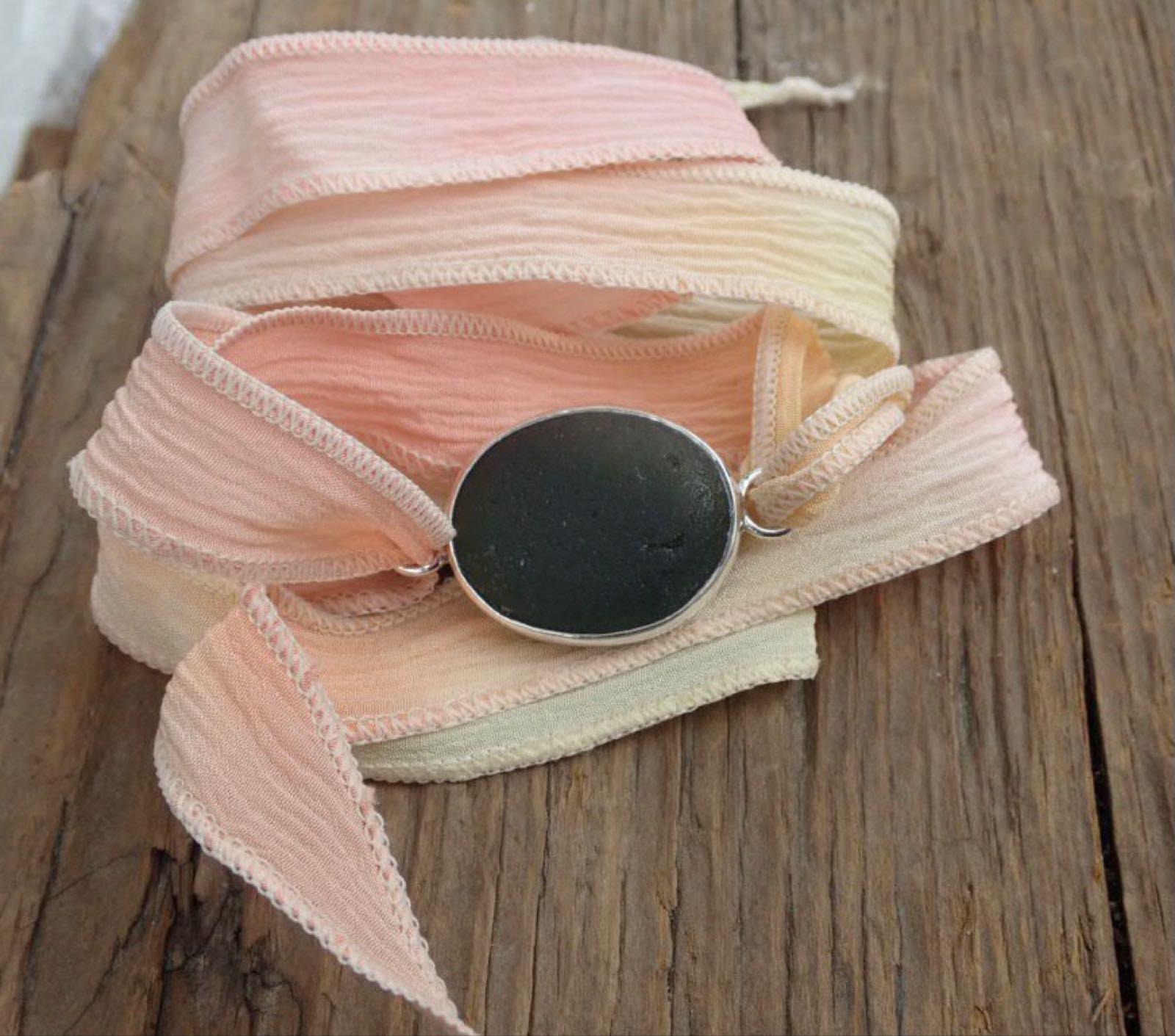Eco-silver Seaham Green Sea Glass Boho Sulk Wrist Wrap