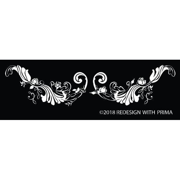 Re-Design with Prima Silk Screen Stencil - Delicate Fleur Scroll