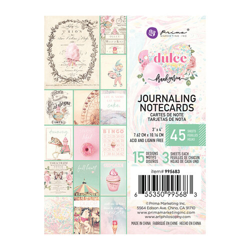 Prima Marketing - Dulce Collection - 3 x 4 Journaling Cards #995683
