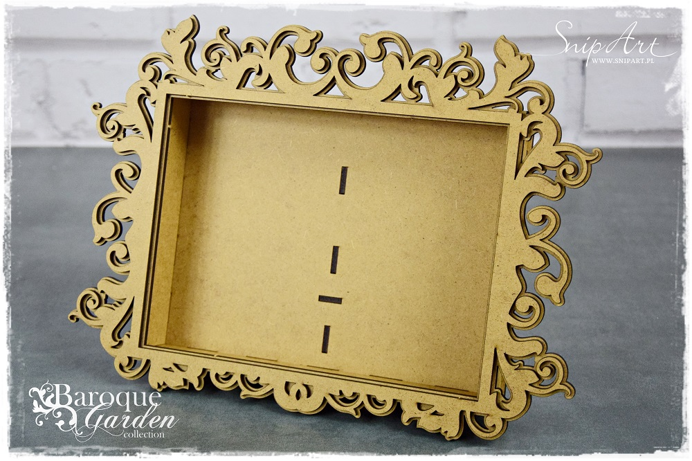 SnipArt 3D - Baroque Garden - rectangle frame/rektangel ramme - Chipboard