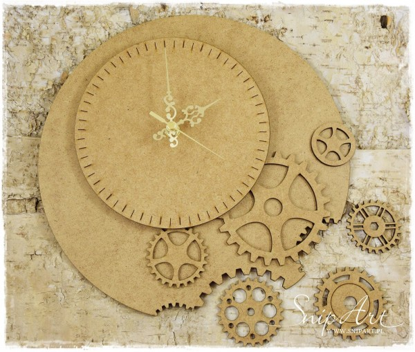 SnipArt -  Industrial Factory - Clock with cogs - Chipboard