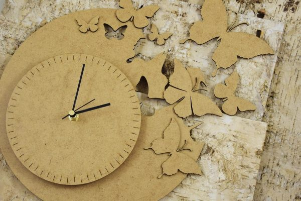 SnipArt - Clock with butterflies - Chipboard