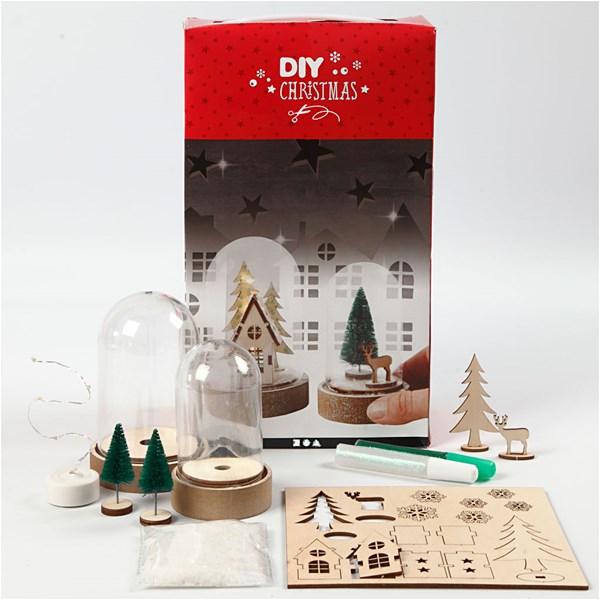 DIY Christmas - Materialsett til klokker med innvendig pynt, H: 10+12,5 cm, 2stk.