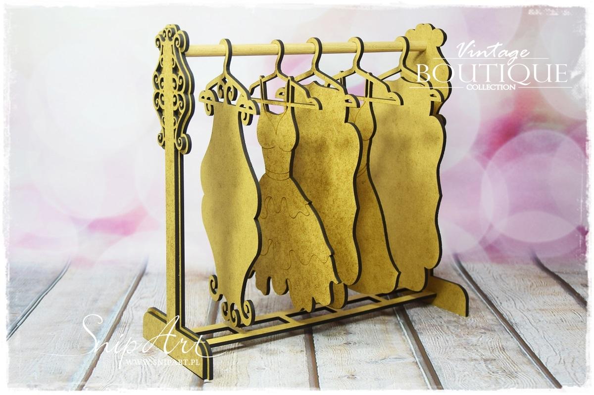 SnipArt 3D - Vintage Boutique - Hangers rack/Kleshenger stativ med kjoler - Chipboard