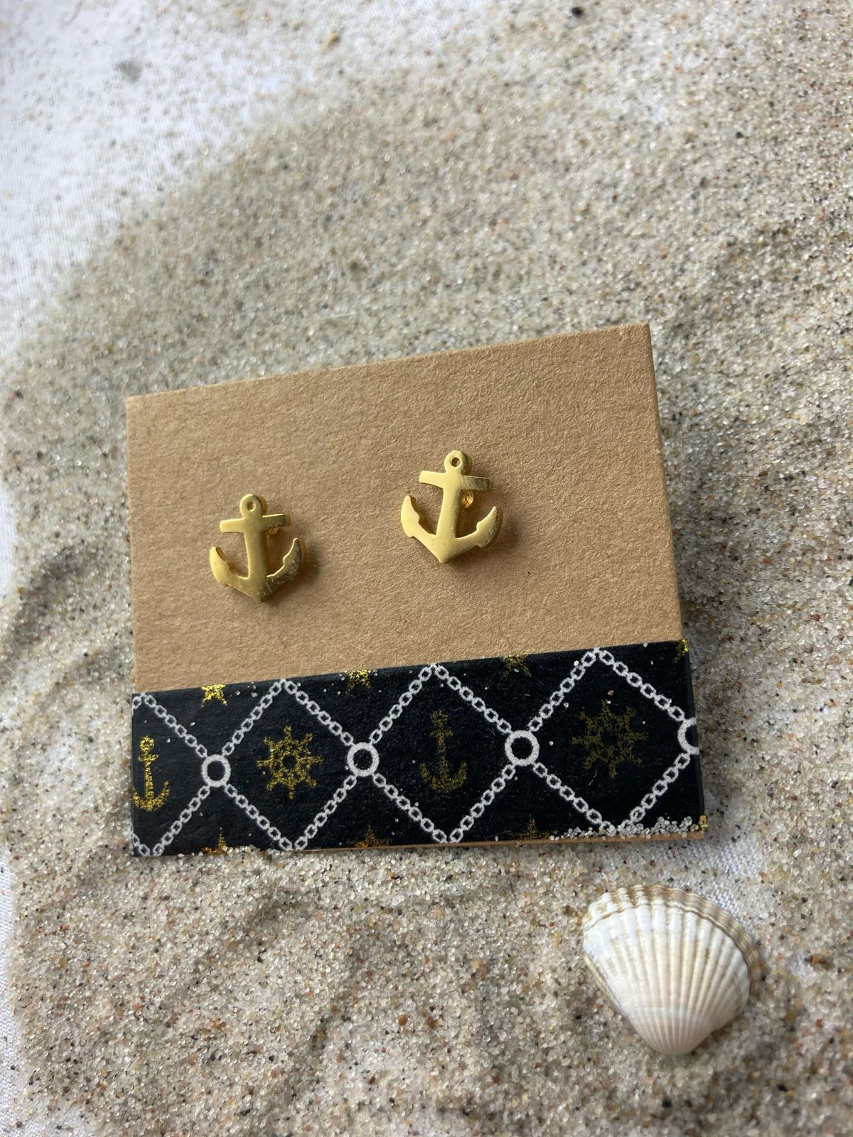 Fischereidesign - Ankerohrringe Gold