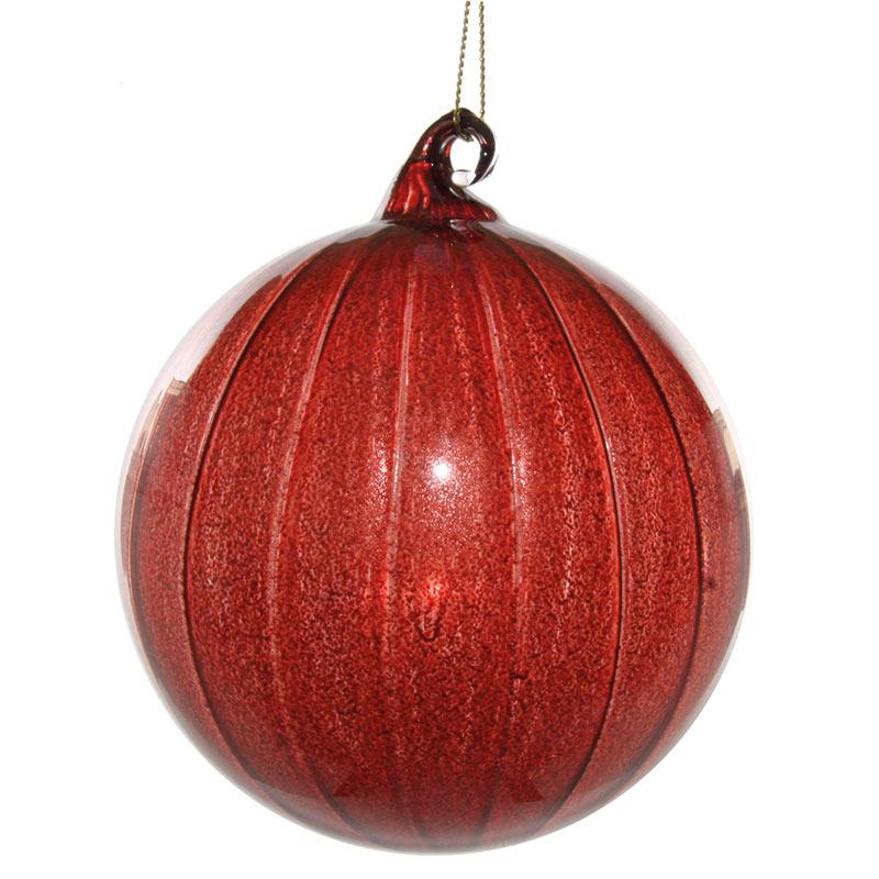 Glaskula bourgogneröd med ränder 10 cm