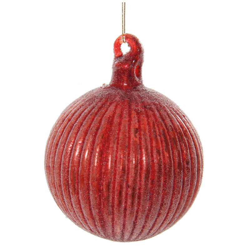 Glaskula antikröd med ränder 6 cm
