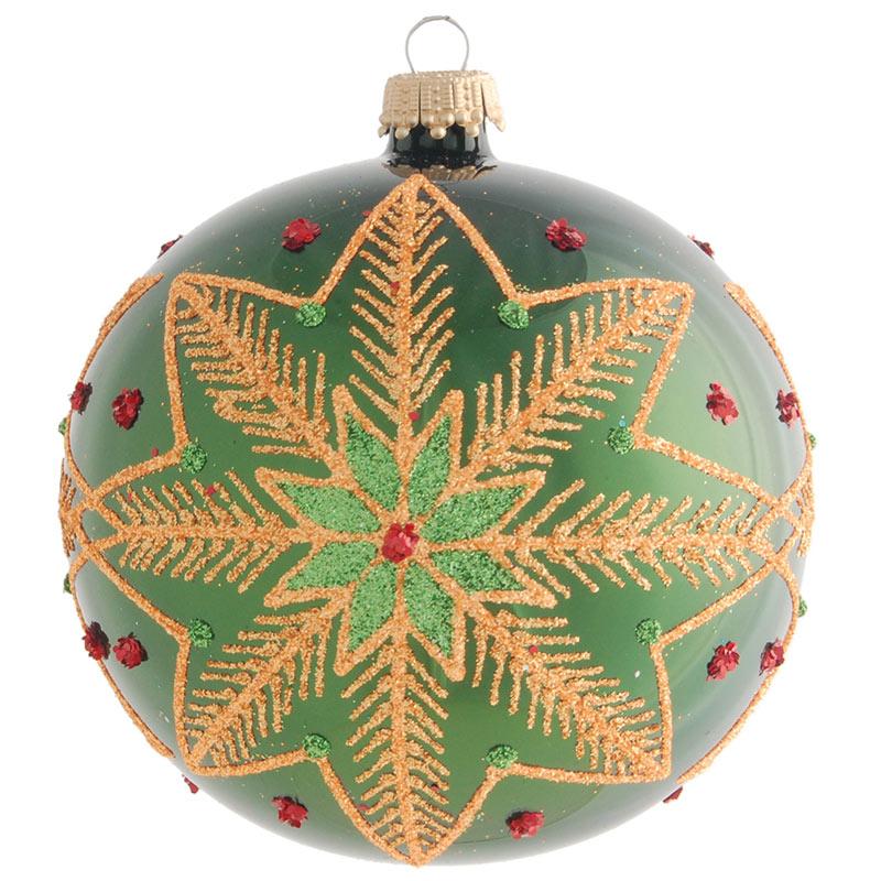 Glaskula grön med julstjärna 10 cm