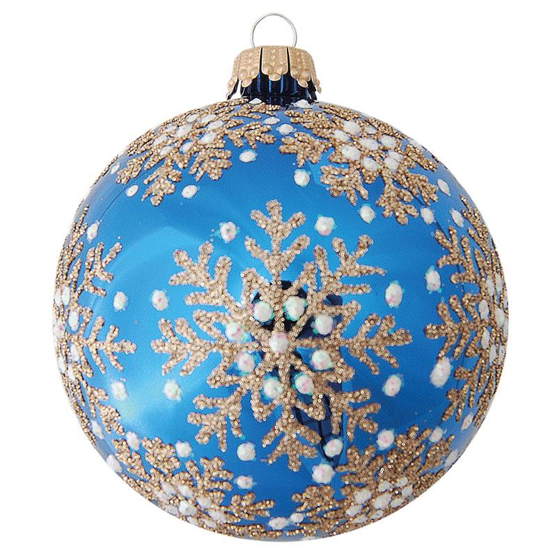 Glaskula blå med snöstjärnor i guld 10 cm