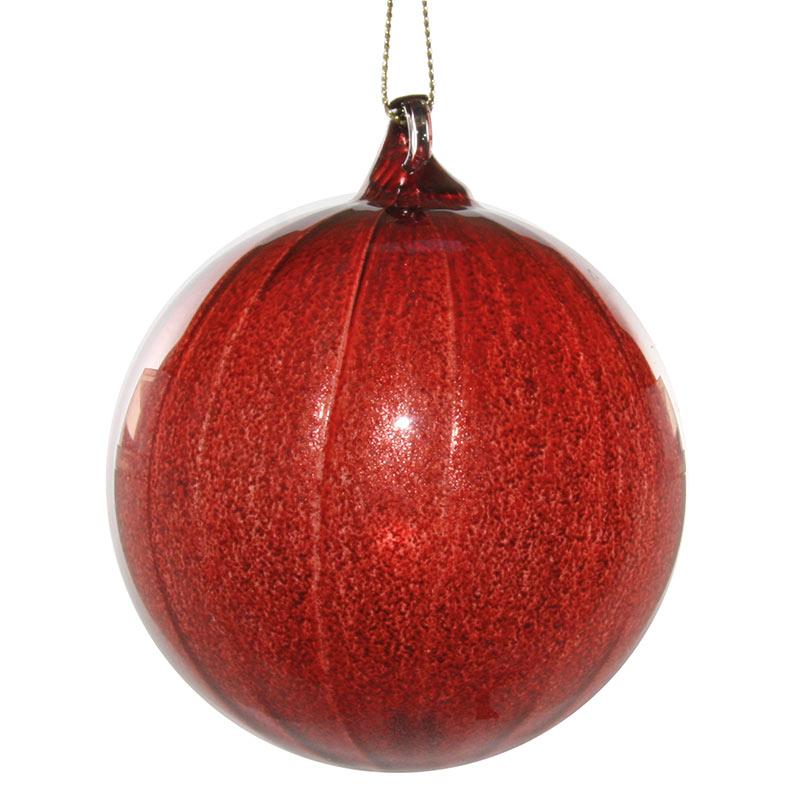 Glaskula bourgogneröd med ränder 8 cm