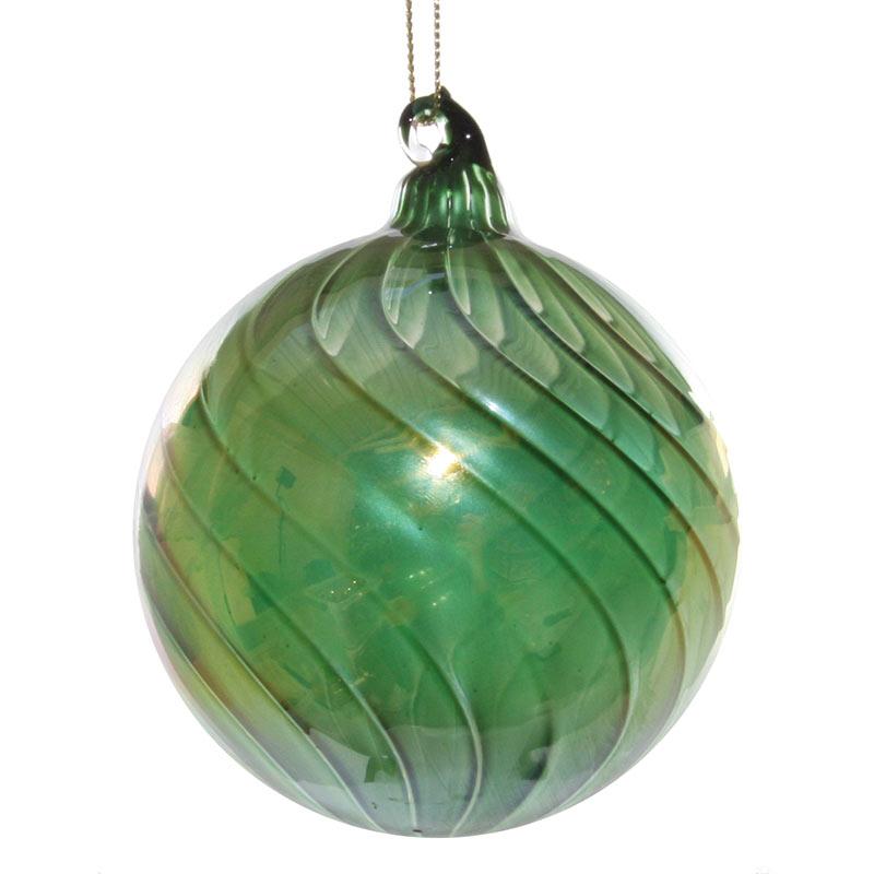 Glaskula grön mönstrad 8 cm