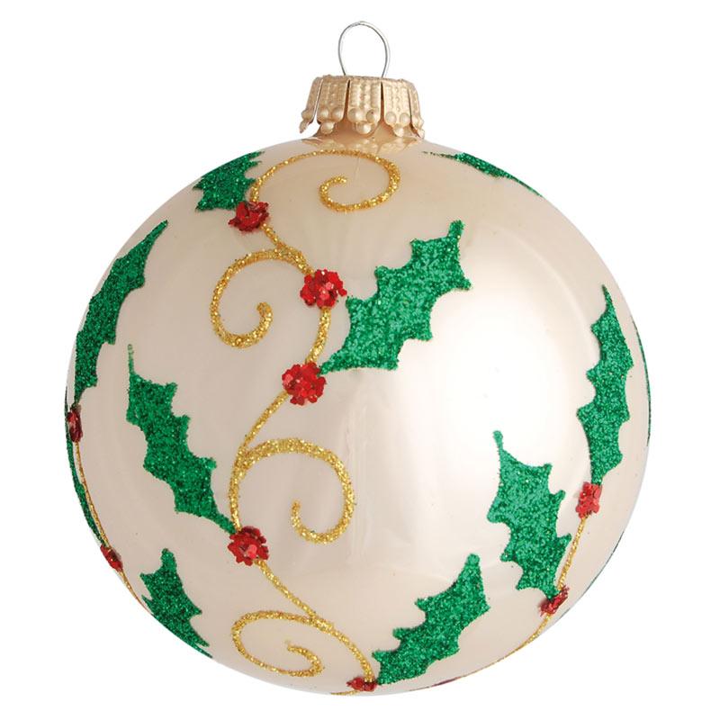Glaskula cremefärgad med juldekor 8 cm