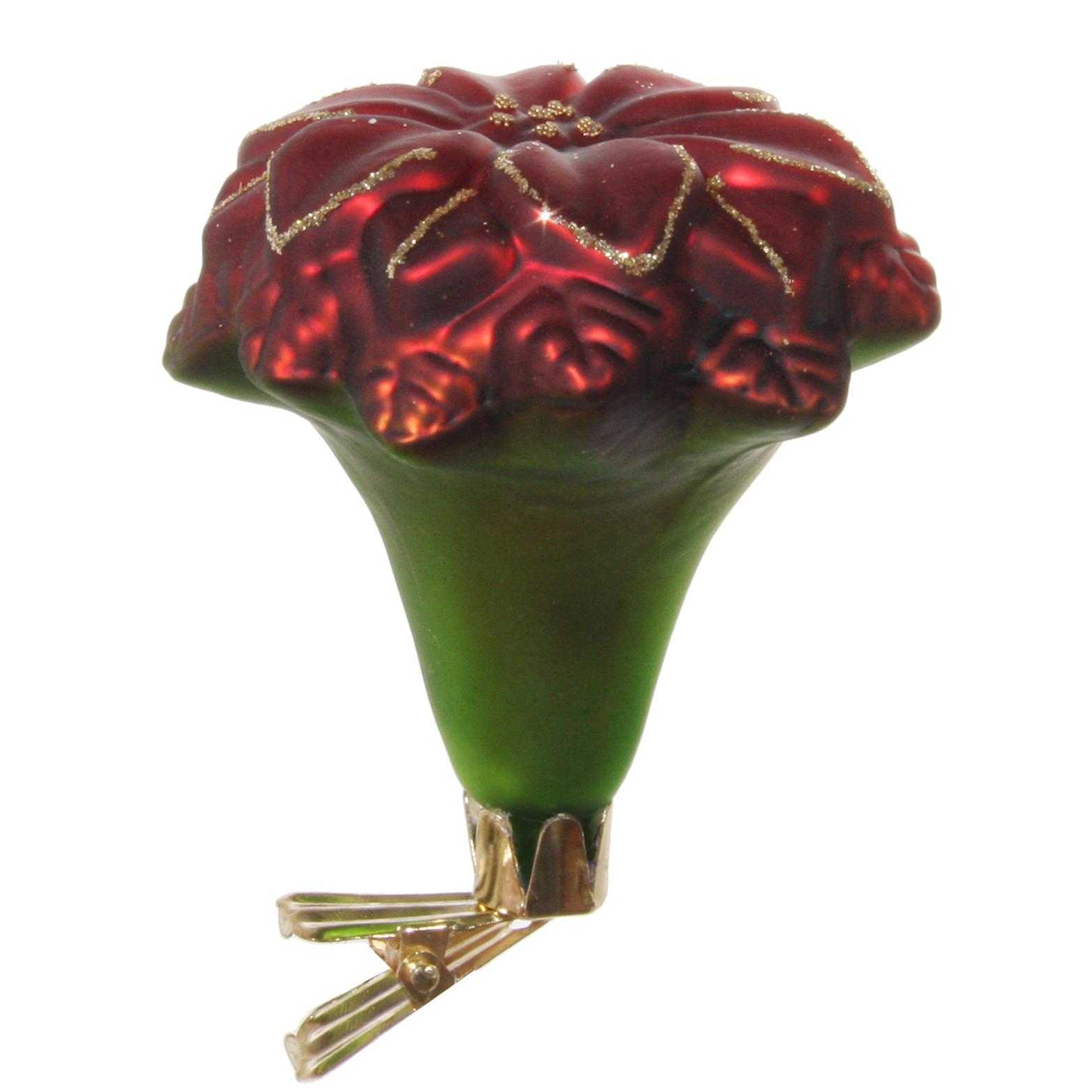 Julros i glas matt röd/grön 12 cm