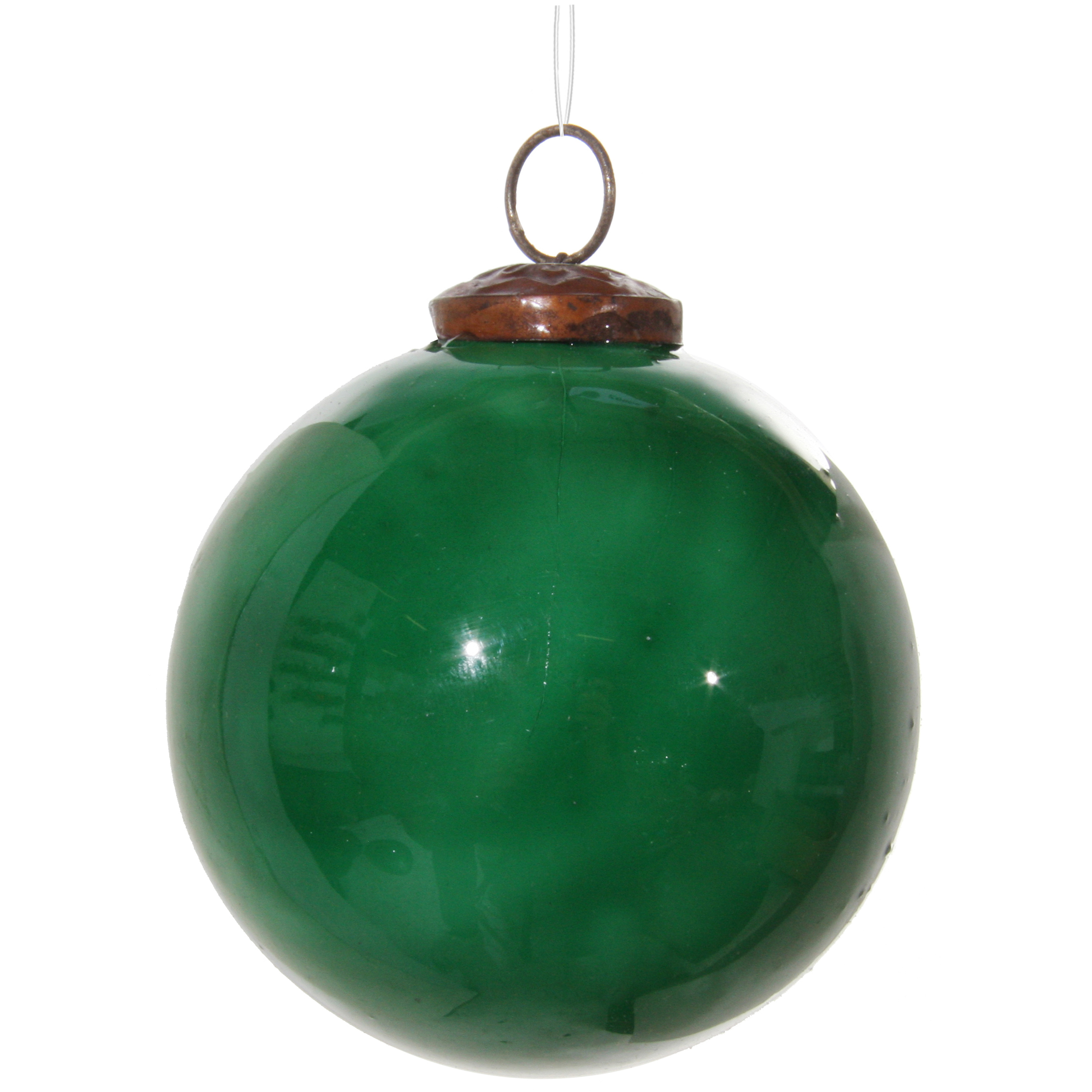 Glaskula emaljerad grön 10 cm