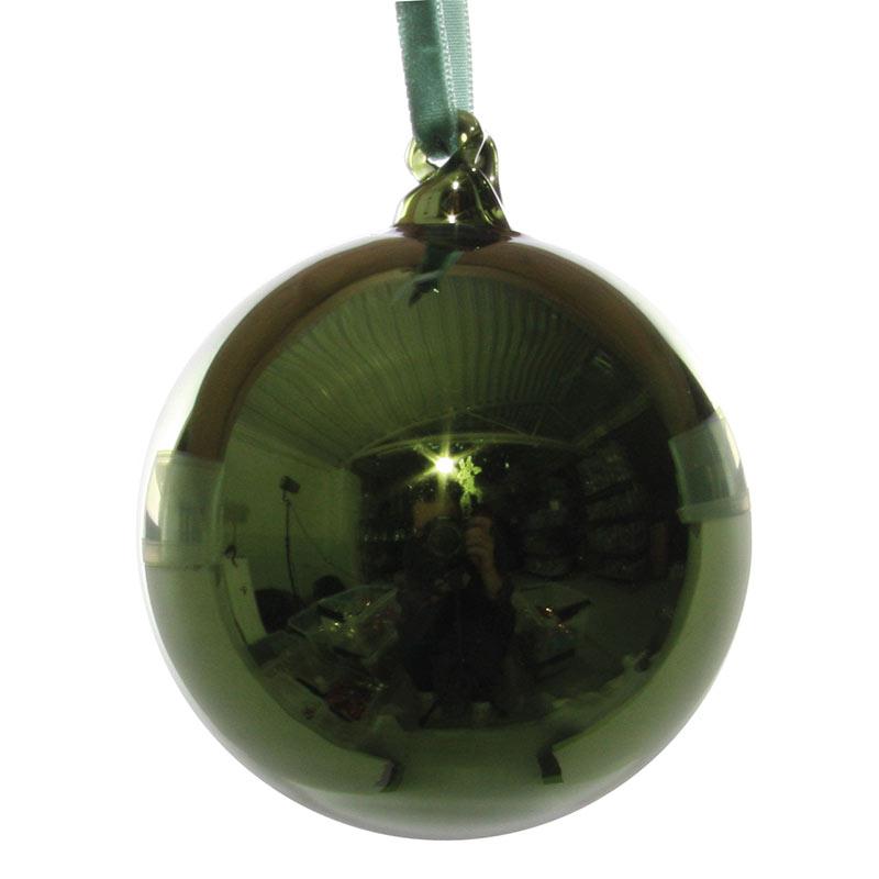 Glaskula antikgrön 8 cm