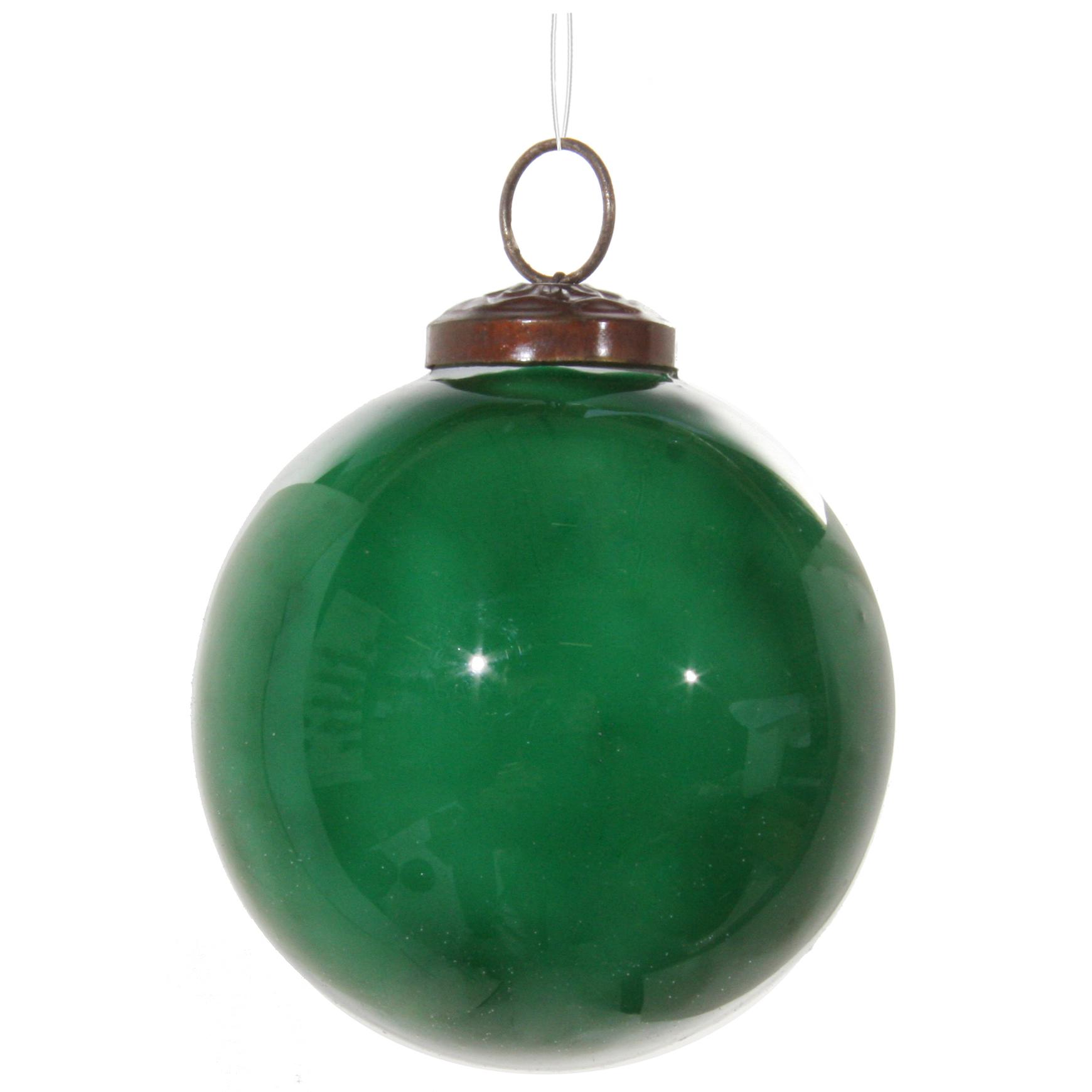 Glaskula emaljerad grön 8 cm