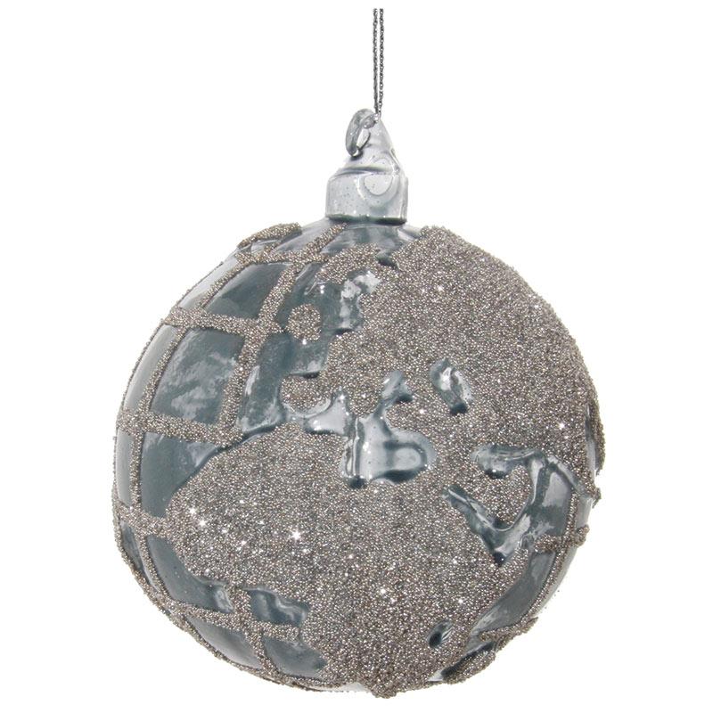 Glaskula blå med silverglitter 8 cm