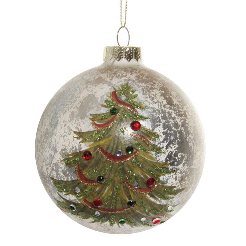 Glaskula antikvit med julgran 10 cm