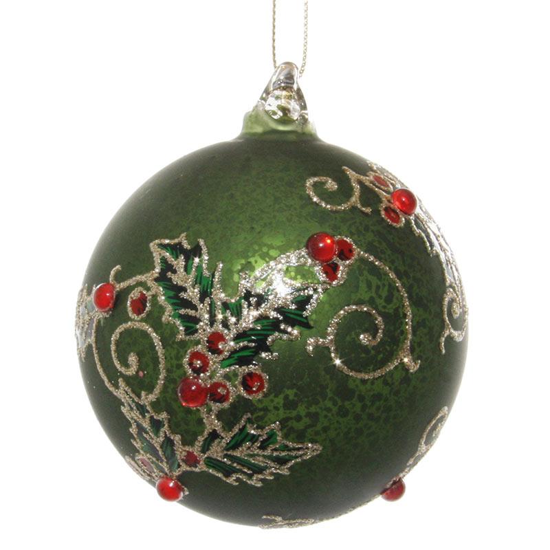 Glaskula antikgrön med juldekor 8 cm