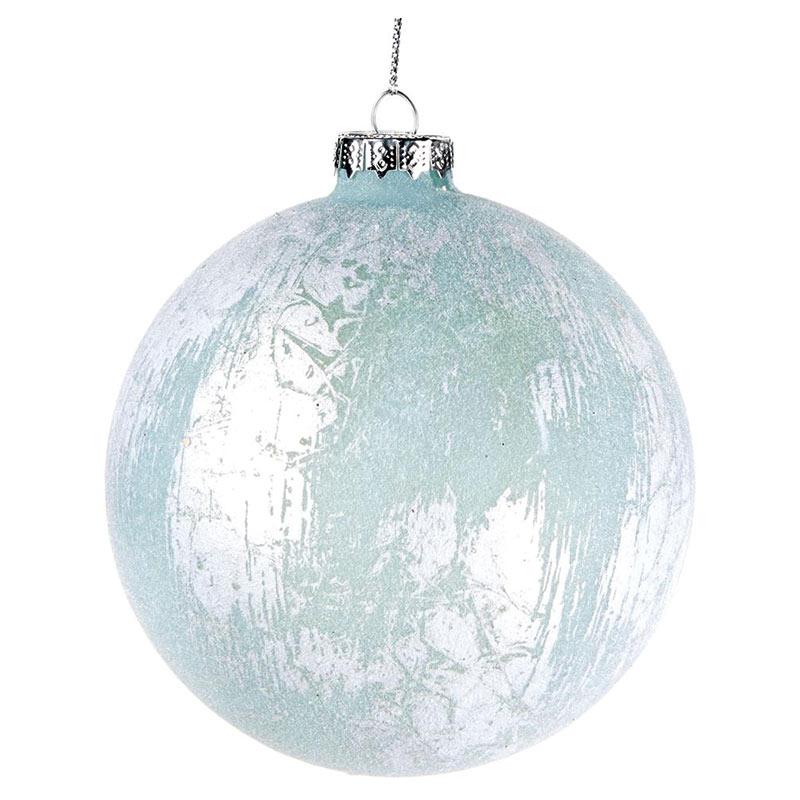 Glaskula blå/silver 10 cm