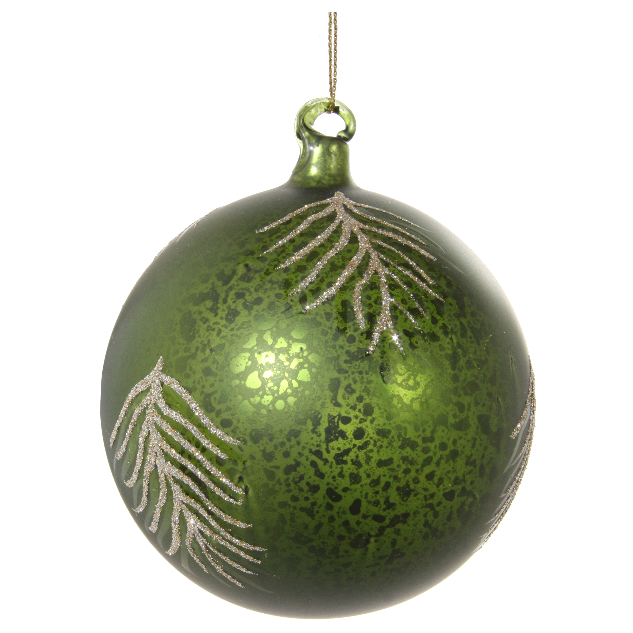 Glaskula grön med glitterlöv 10 cm