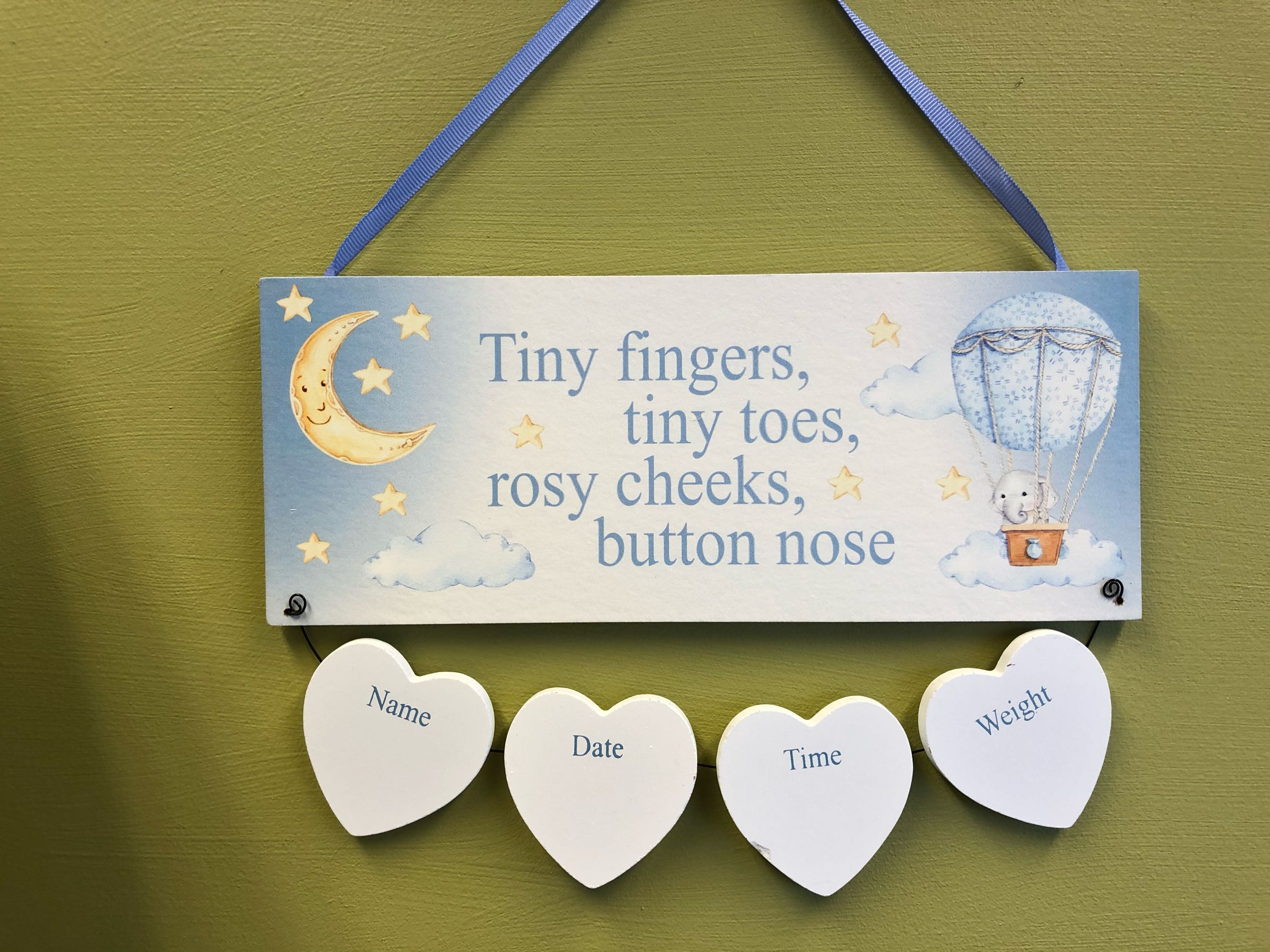 Hanging baby birth plaque. - blue - can be engraved with