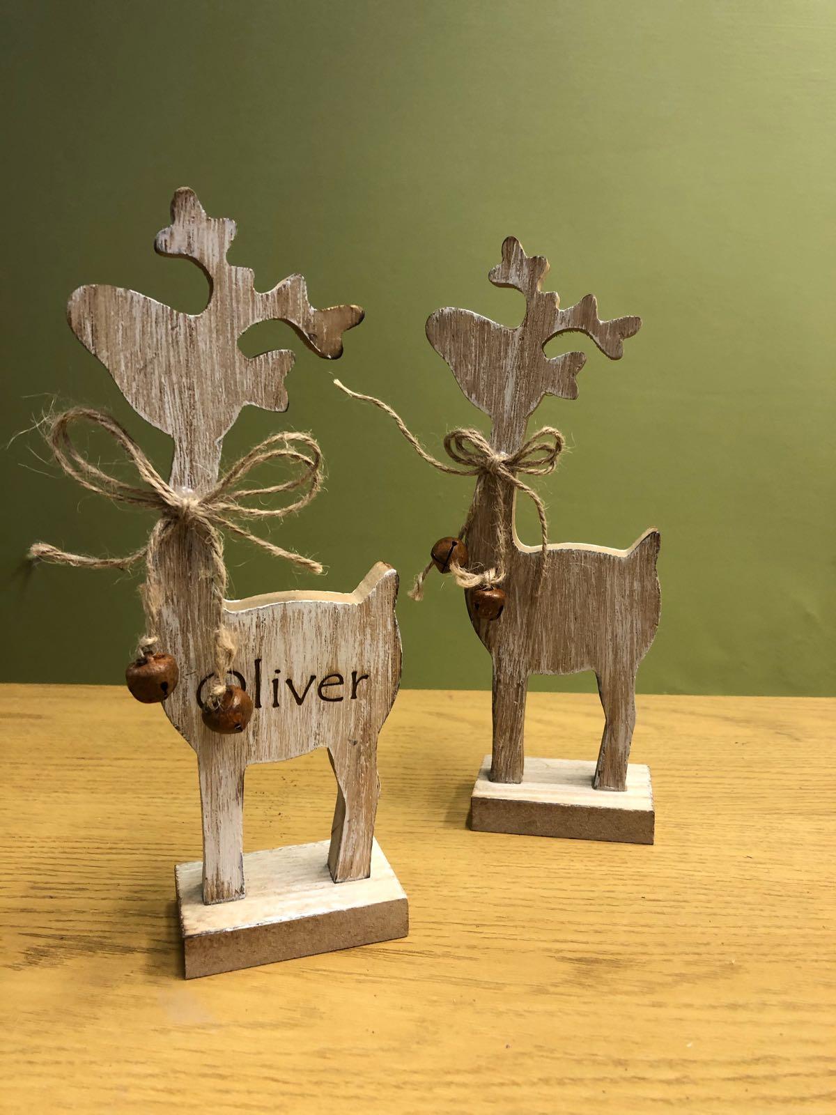 Wooden reindeer (personalised)