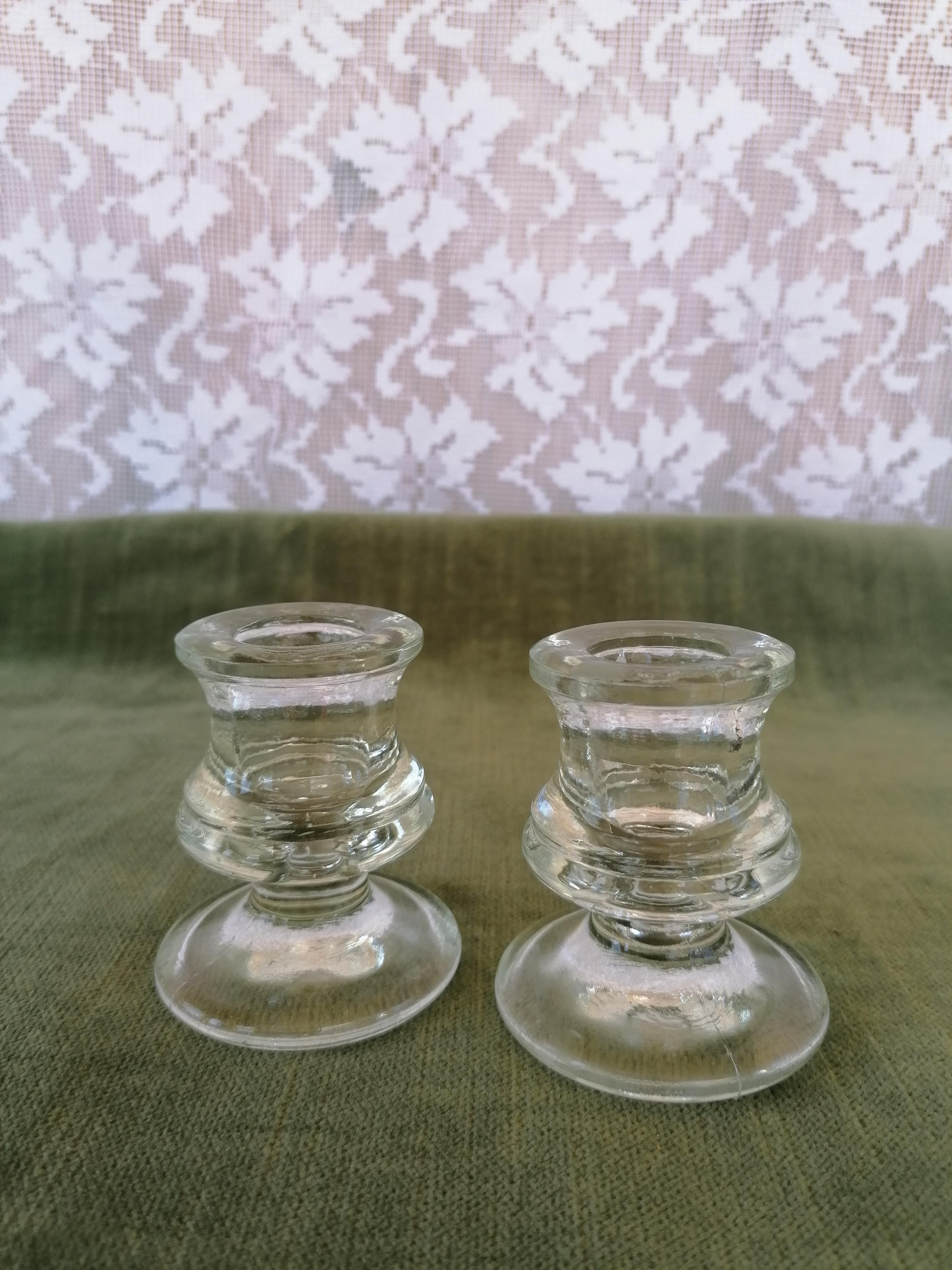 Glasljusstakar pressglas par