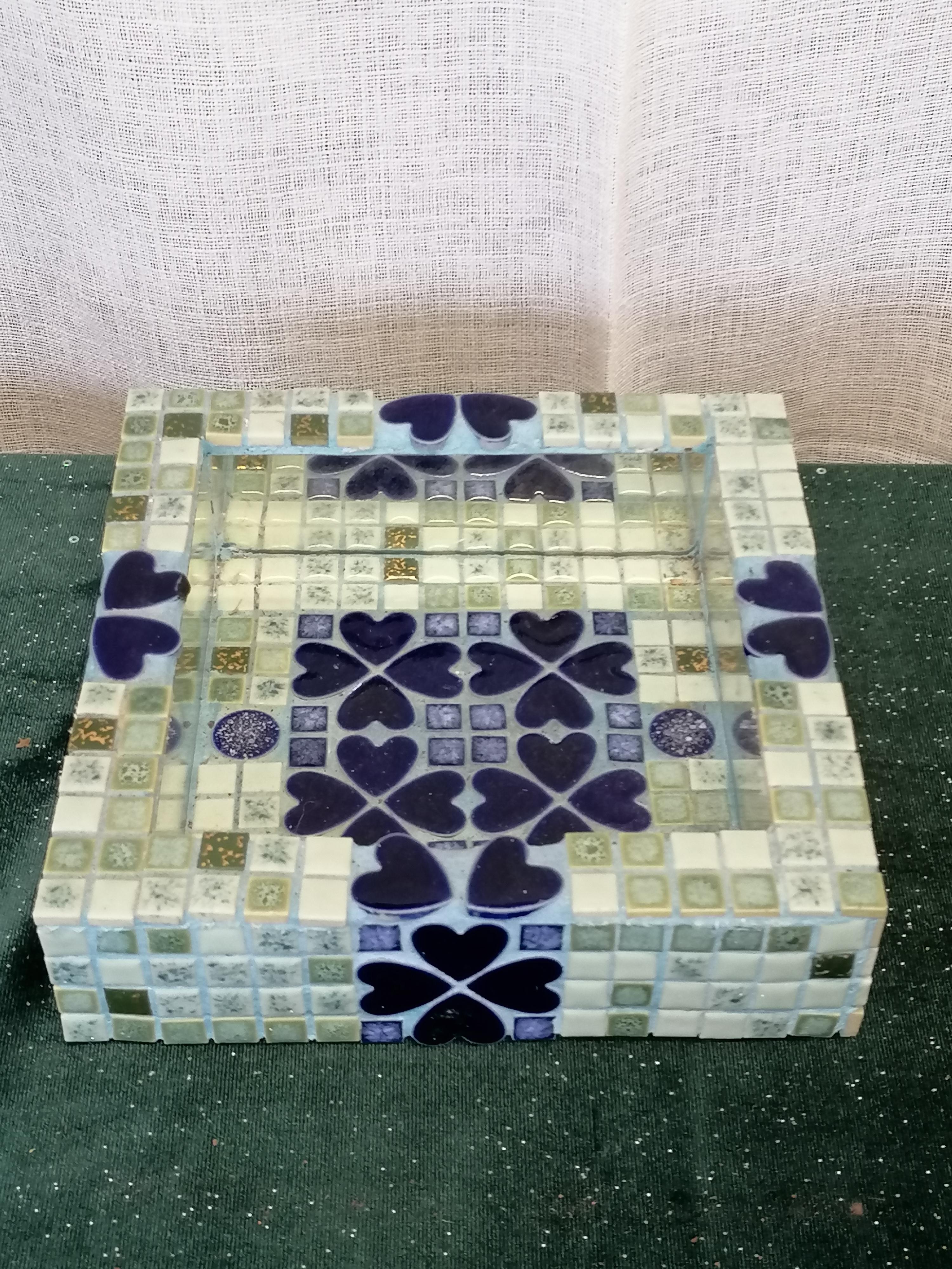 Fat / skål med speglar och mosaik blå