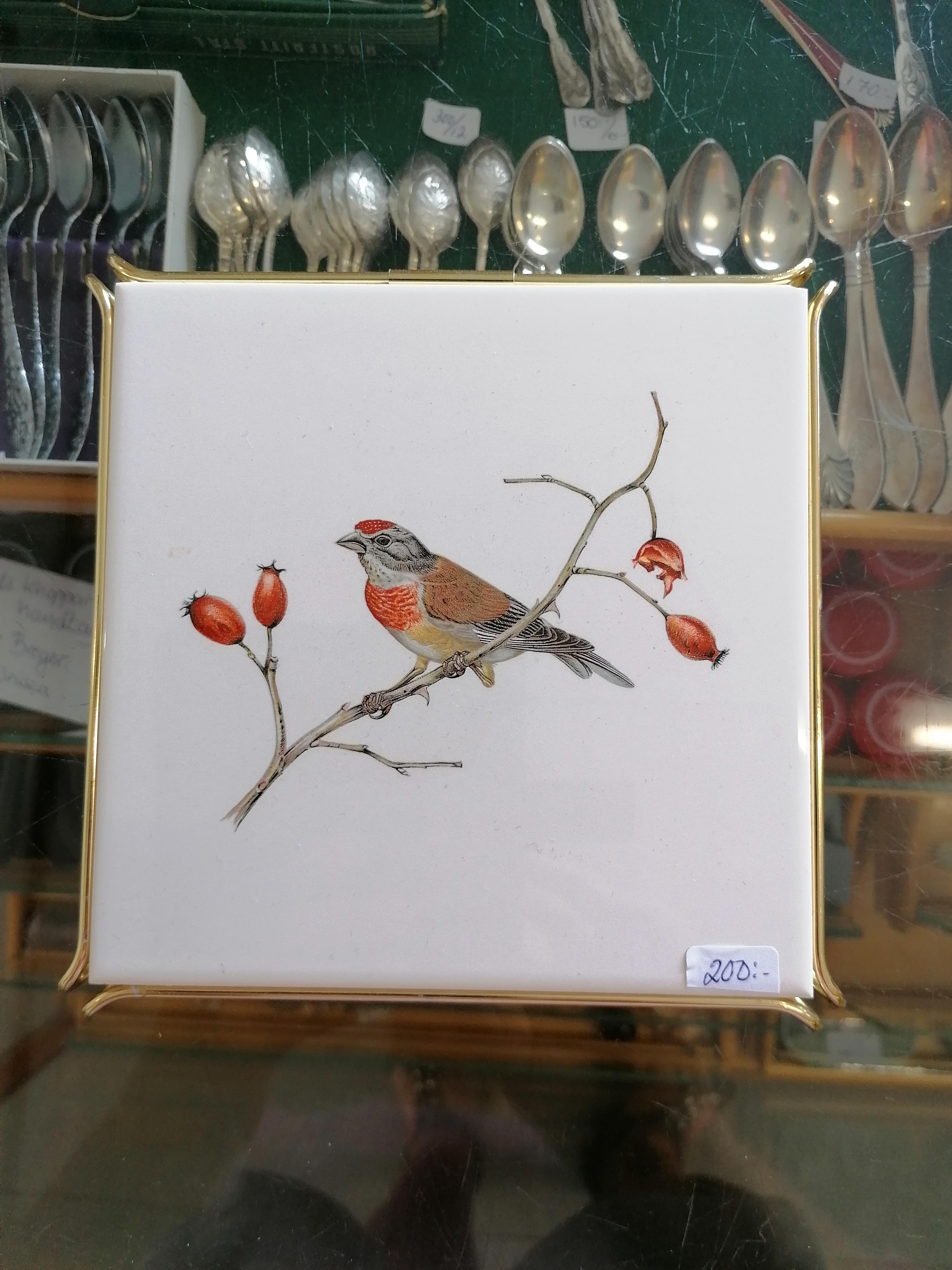 Fågelplattor set om 3 i keramik retro
