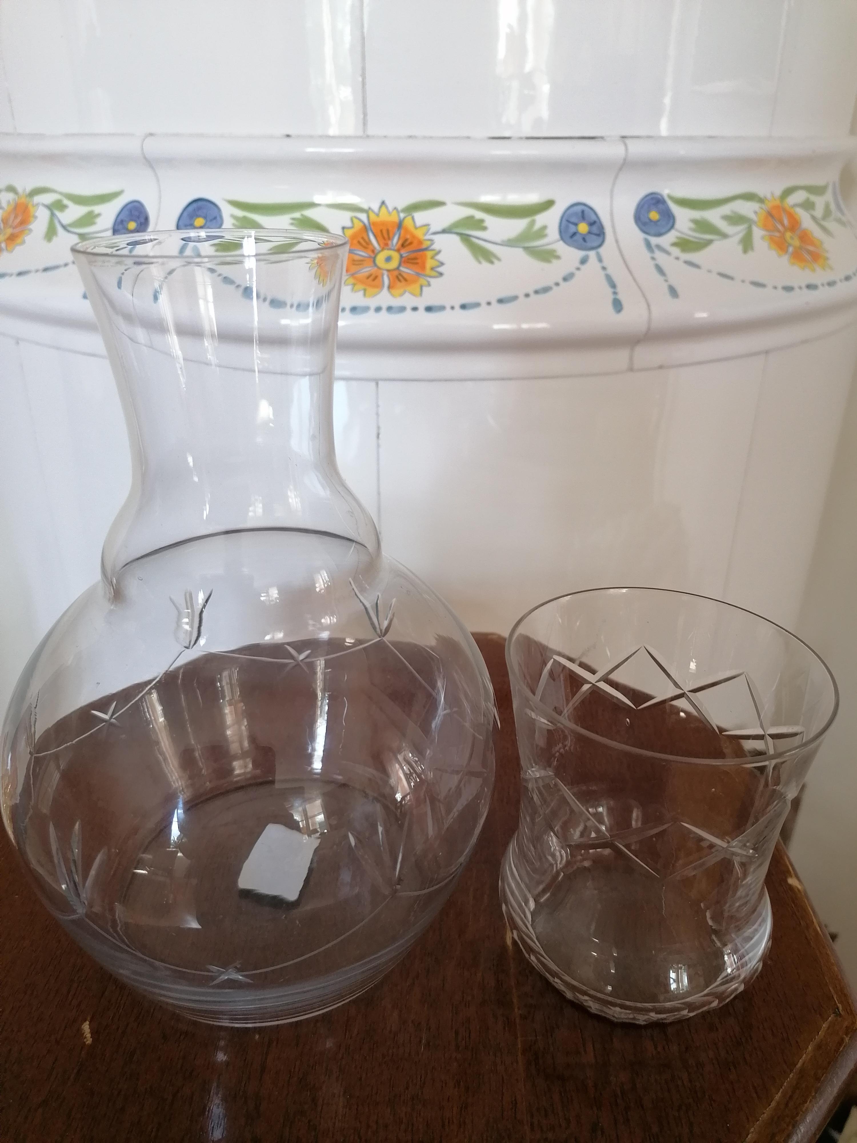 Vattenkaraff / Nattflaska med glas