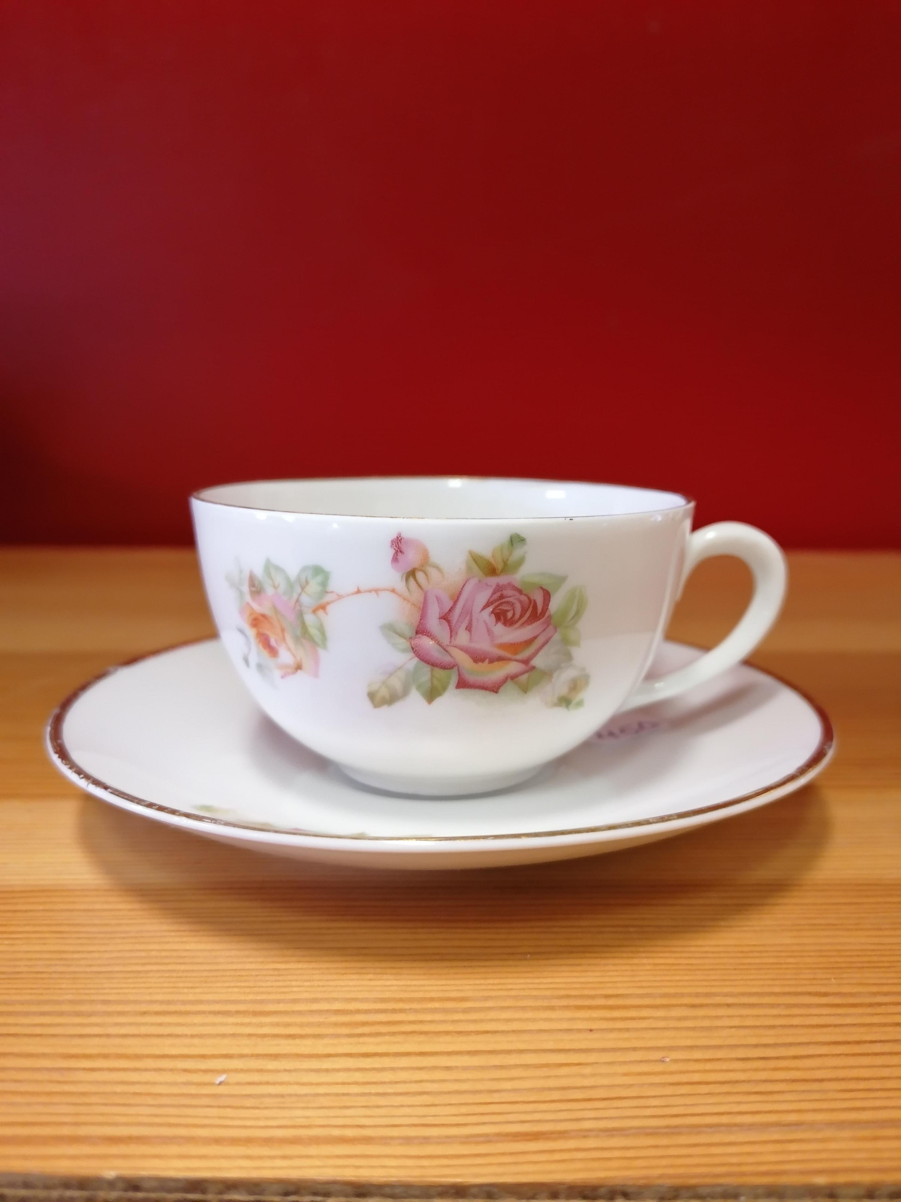 Kaffekoppar med rosor 8 st