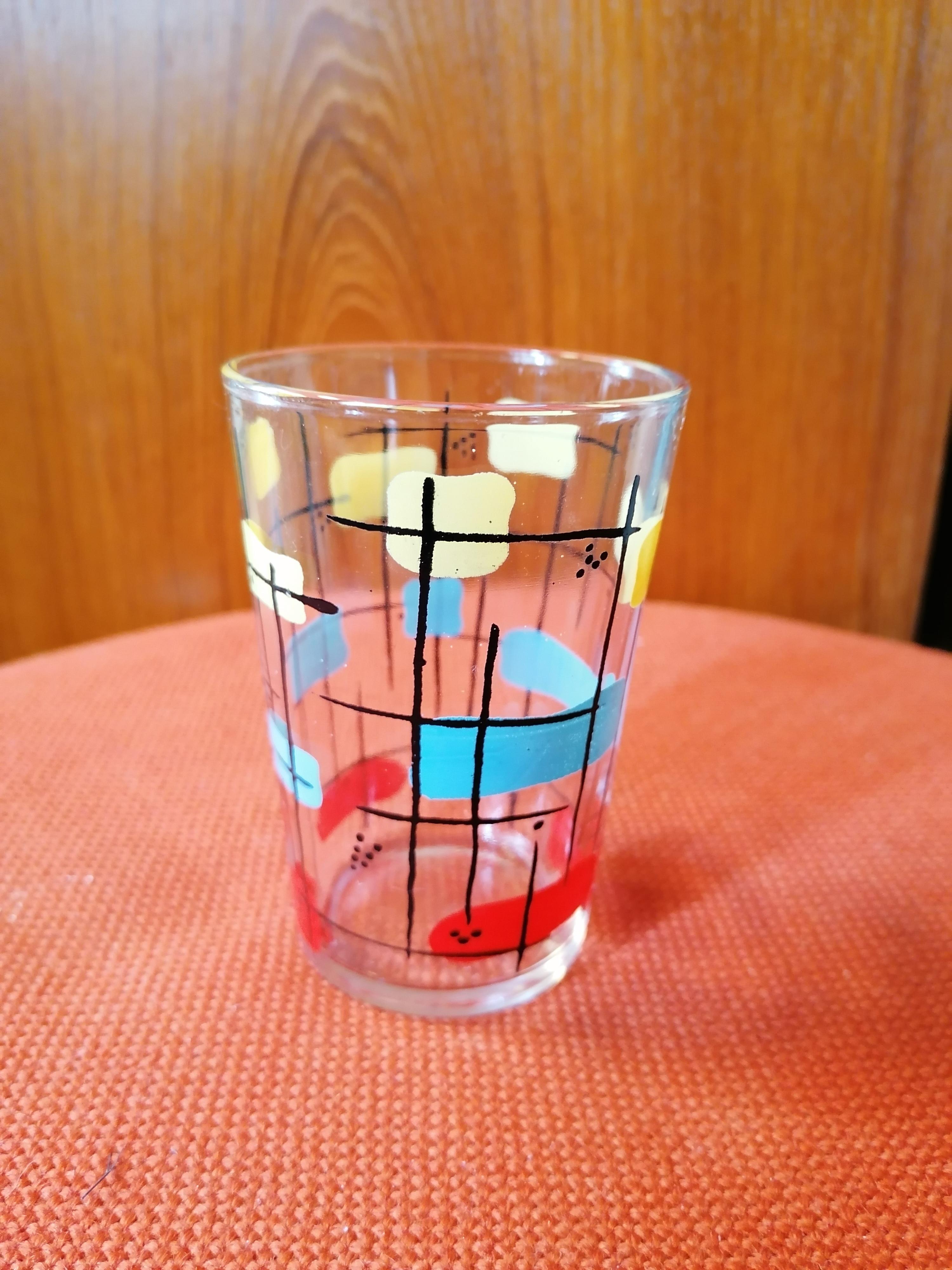 Handmålade dricksglas 50-tal
