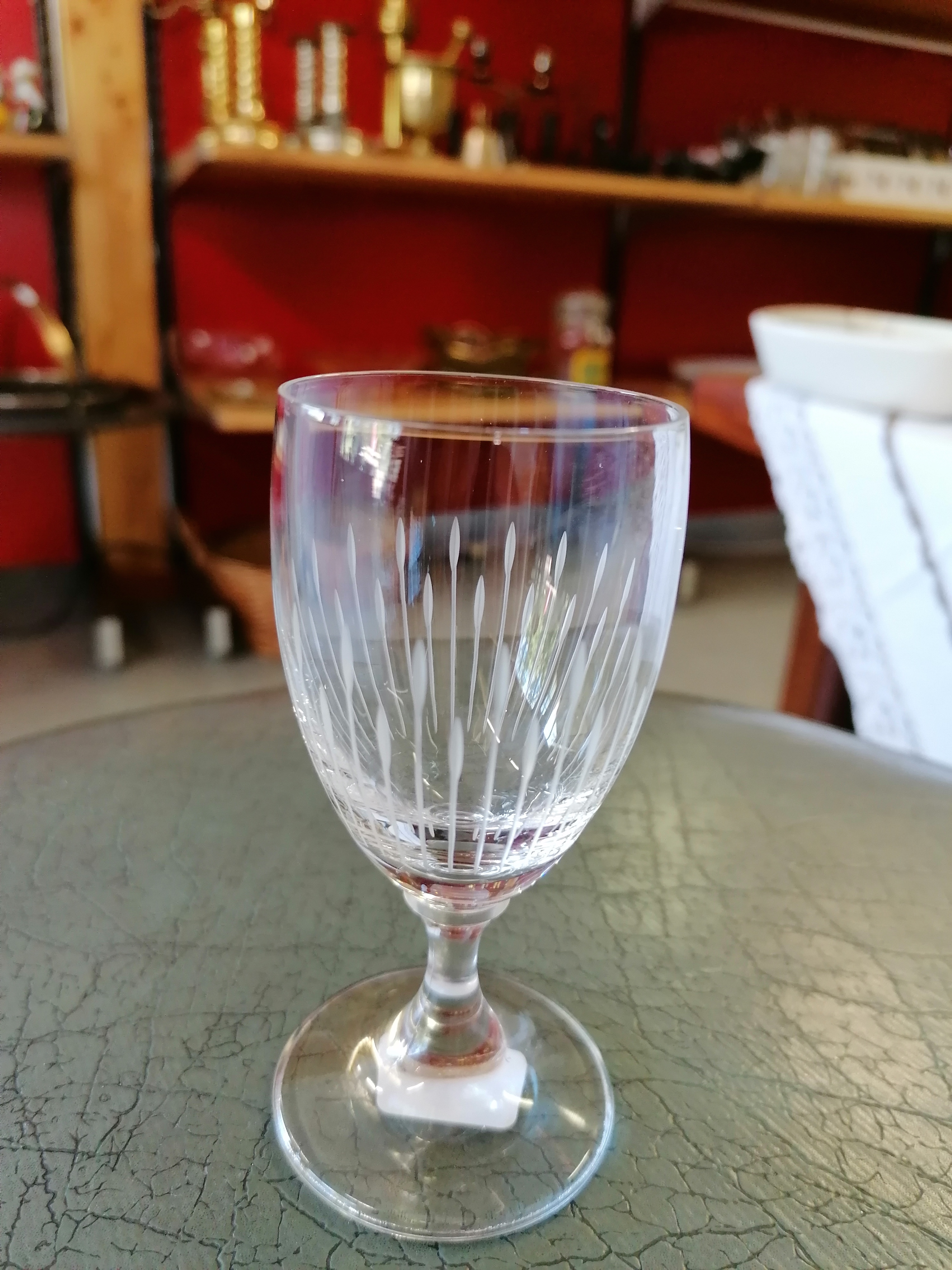 Litet slipat glas på fot set om 6 st