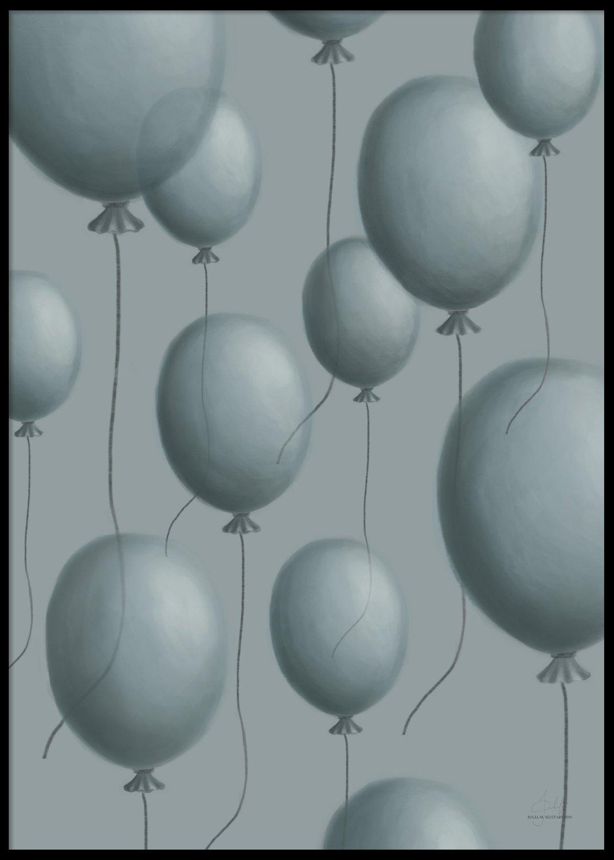 Blåa ballonger poster, 50x70cm