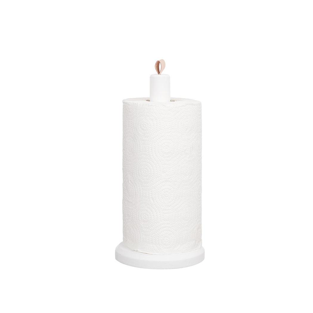 Hushållspappershållare i trä, vit med skinnknoppp