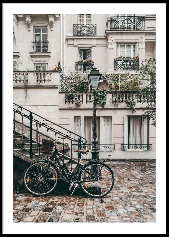 Cykel mot trappa, poster 50X70cm