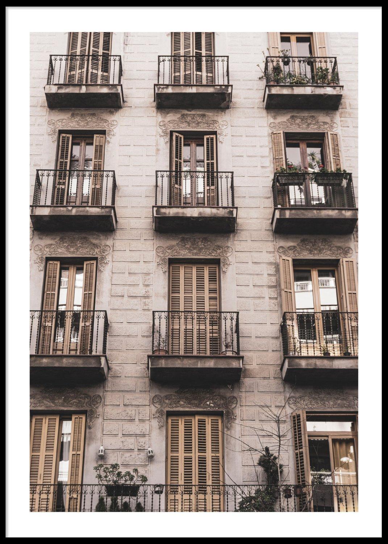 Barcelona balconies poster, 30x40cm