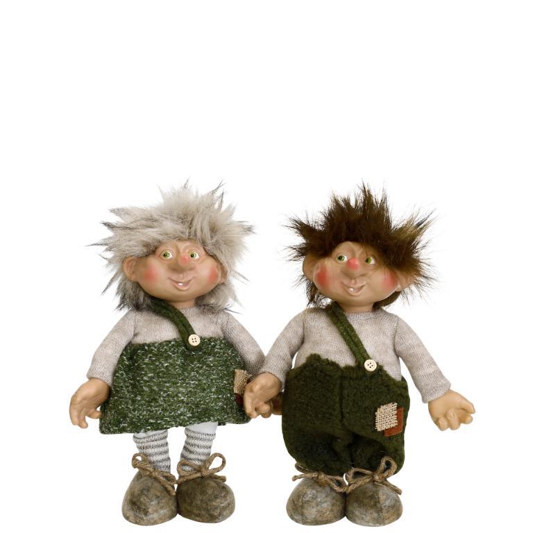 Troll Rille & Ronja i gröna kläder