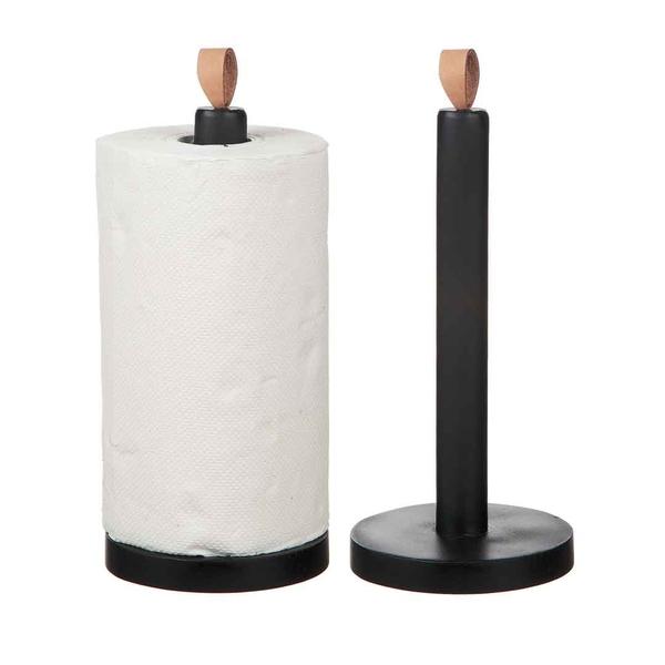 Hushållspappershållare svart i trä m. skinnknoppp