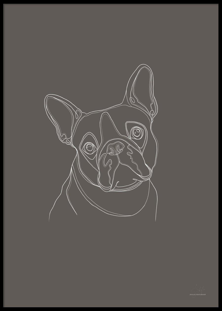 Digital hund poster, 50X70cm
