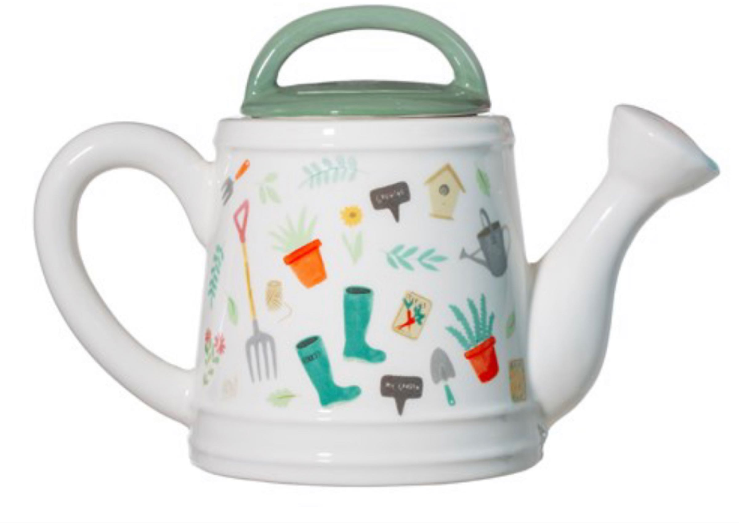 Gardening themed watering can teapot