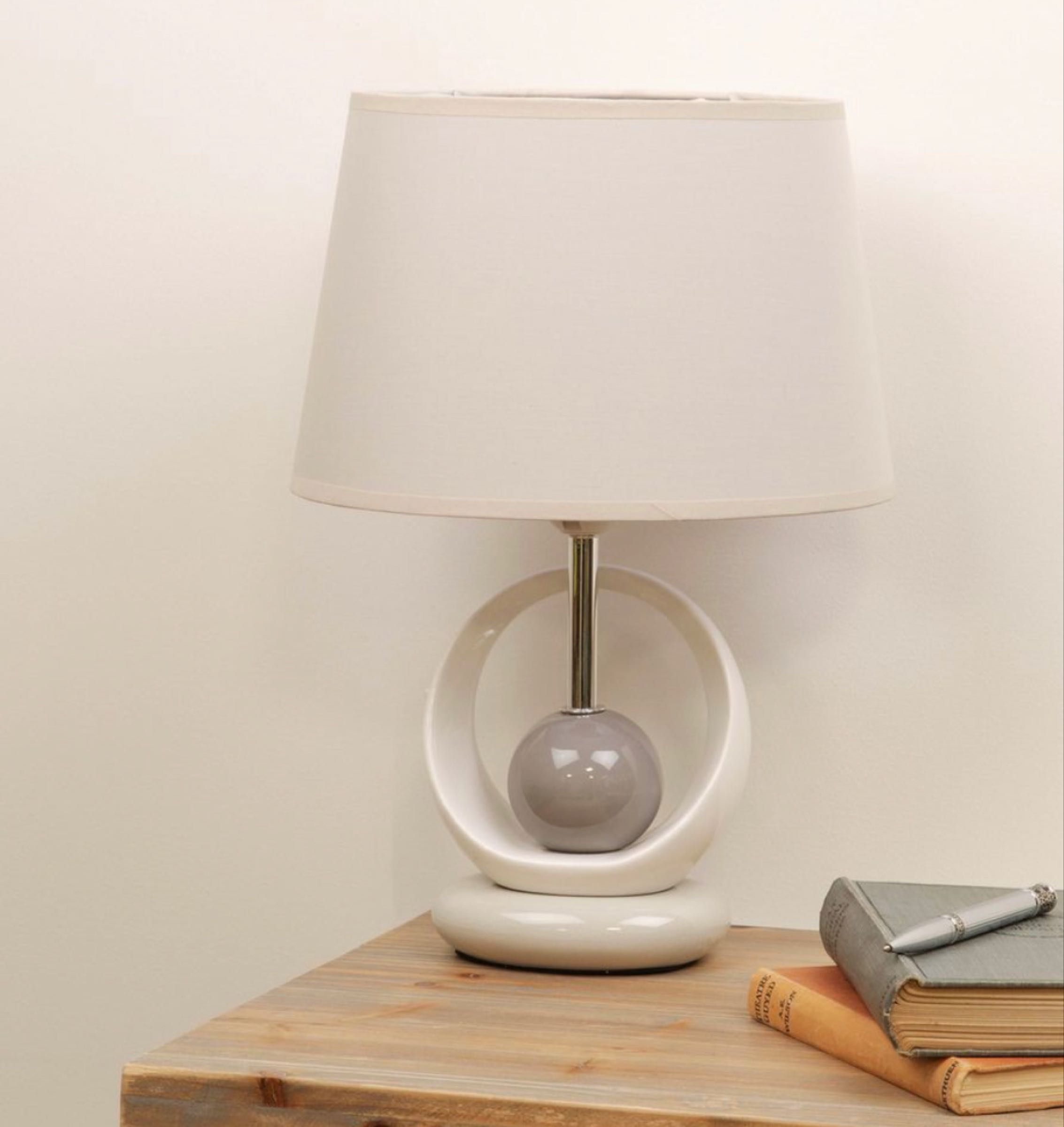 Grey & Cream Table Lamp with Grey Cotton Shade