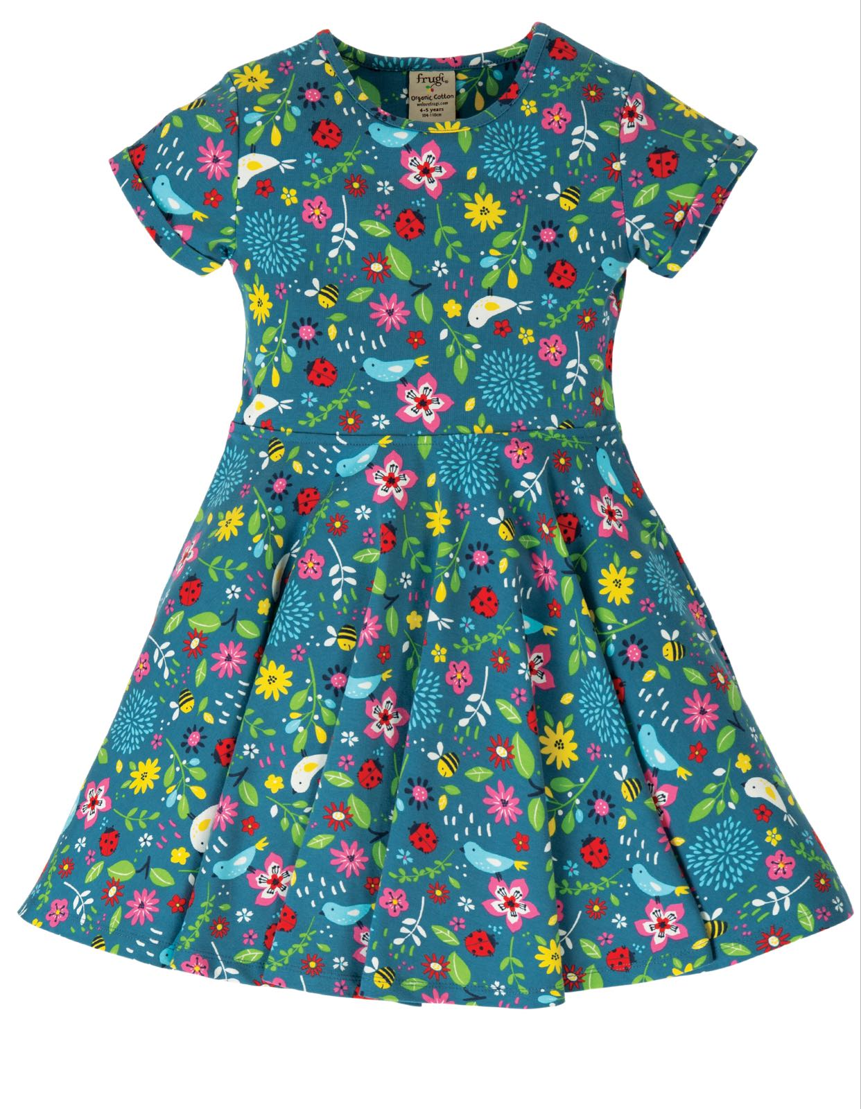 Frugi Spring Skater Dress, Garden Friends