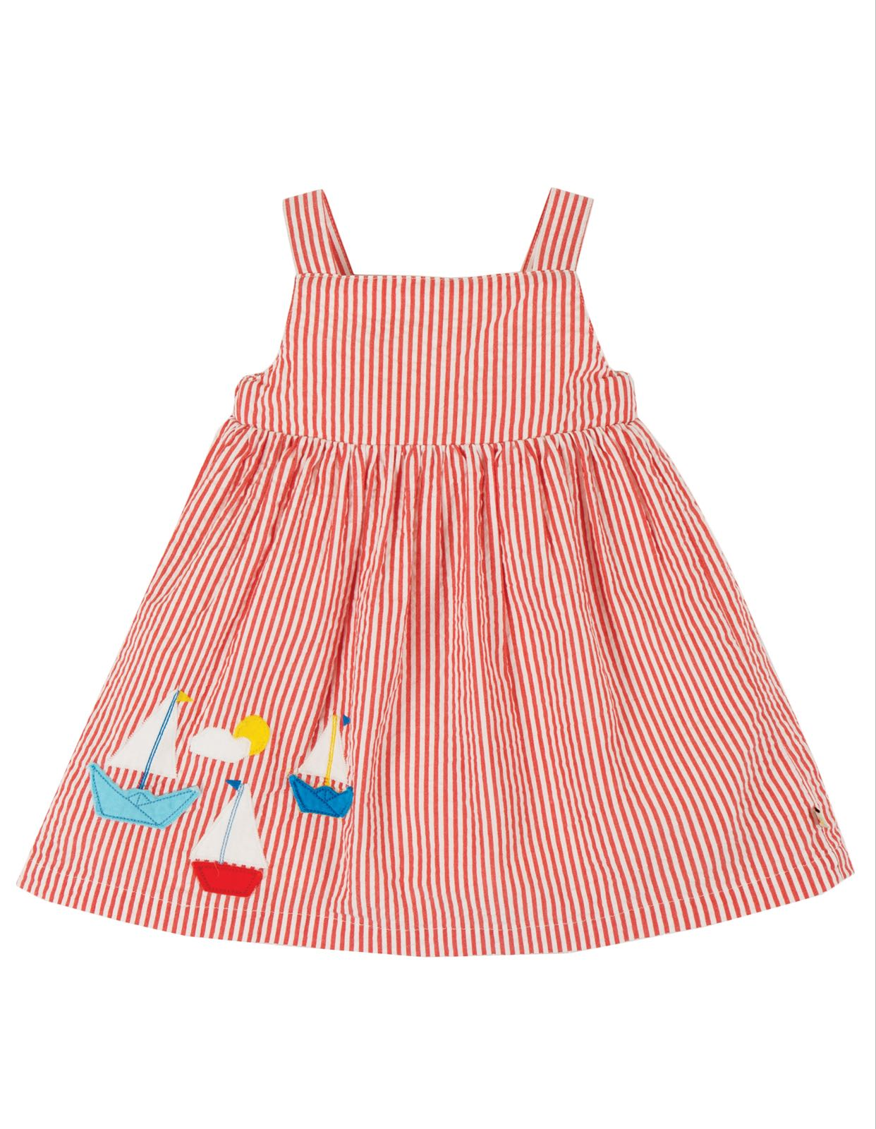 Frugi Alma Summer Dress, Koi Red Seersucker Boat