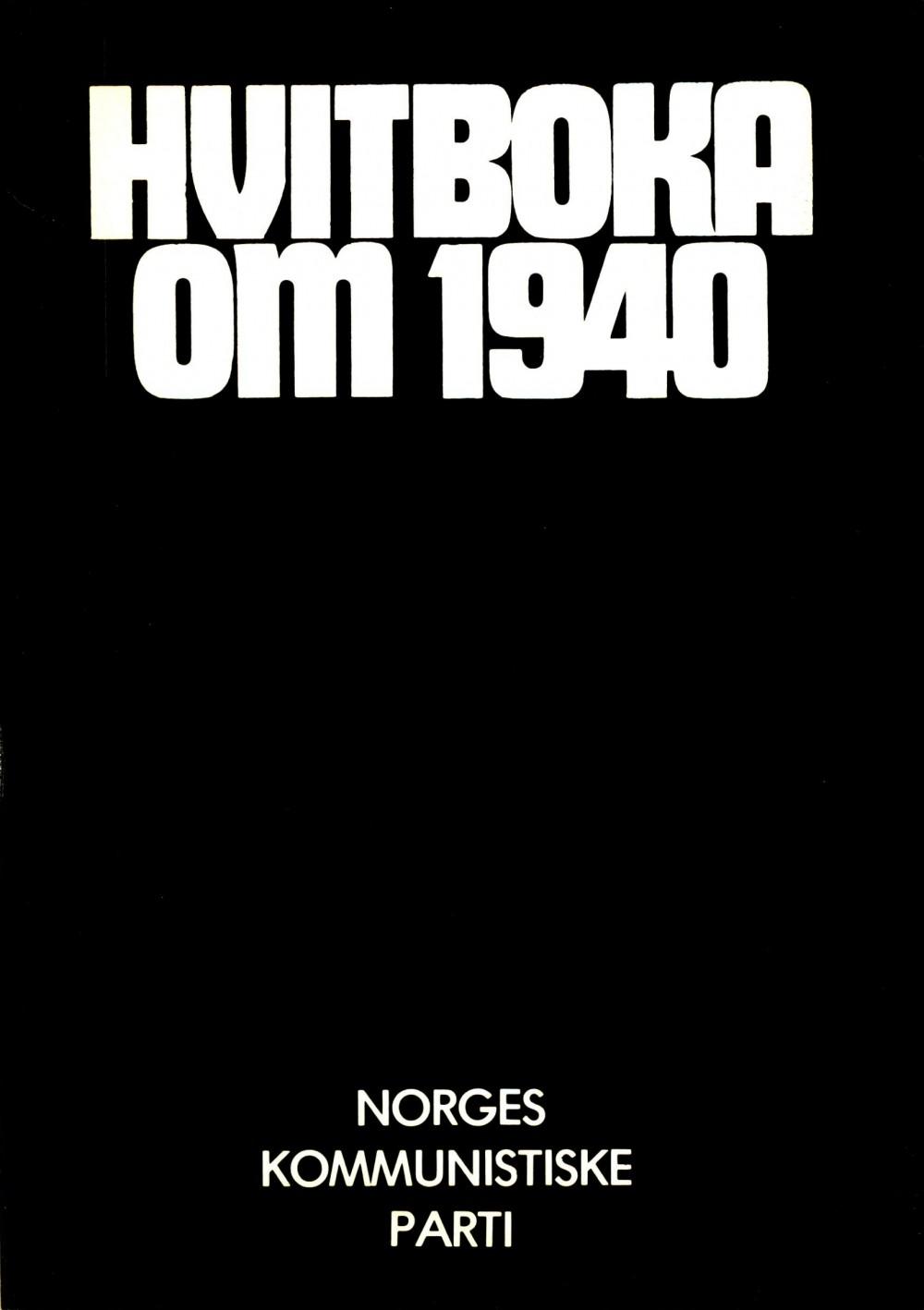 Diverse forfattere: Hvitboka om 1940